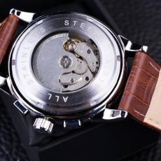 Ceas barbatesc Forsining cu Moon Phase (arata noapte/zi), curea din piele maro, mecanism automatic-mecanic, stil business + cutie cadou
