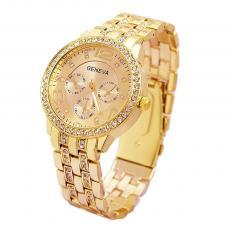 Ceas dama Geneva Gold, calendar complet, curea otel inoxidabila, mecanism Quartz