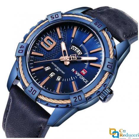 Ceas Naviforce barbatesc albastru, mecanism Quartz, curea din piele albastra, rezistent la apa 3Bar, rezsistent la zgarieturi, stil business + cutie cadou