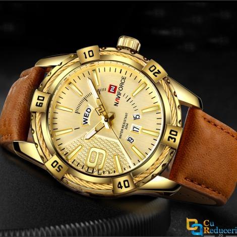 Ceas Naviforce barbatesc Gold, mecanism Quartz, curea din piele maro, rezistent la apa 3Bar si la zgarieturi, stil business + cutie cadou