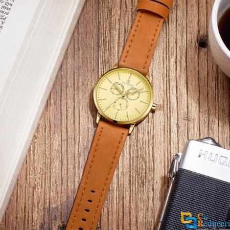 Ceas Naviforce Gold model 2018, mecanism Quartz, rezistent la apa 3ATM, curea din piele maro autentica, stil Fashion + cutie cadou