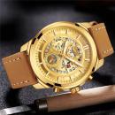 Ceas Naviforce Gold, mecanism Quartz, rezistent la apa 3ATM, curea din piele maro autentica, stil Fashion + cutie cadou