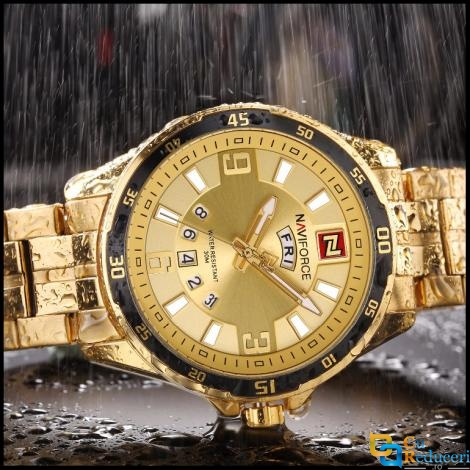 Ceas Naviforce Gold, stil Sport, mecanism Quartz, rezistent la apa 3Bar, curea din otel inoxidabil + cutie cadou