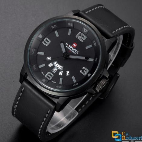 Ceas Naviforce negru, stil Sport, mecanism Quartz, rezistent la apa 3Bar, curea din piele neagra + cutie cadou