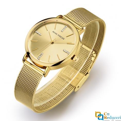 Ceas de dama Mini Focus gold, rezistent la apa 3Bar, mecanism Quartz, curea din otel inoxidabil, afisaj analogic, stil Fashion + cutie cadou