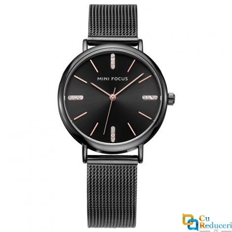 Ceas de dama Mini Focus negru, rezistent la apa 3Bar, mecanism Quartz, curea din otel inoxidabil, afisaj analogic, stil Fashion + cutie cadou