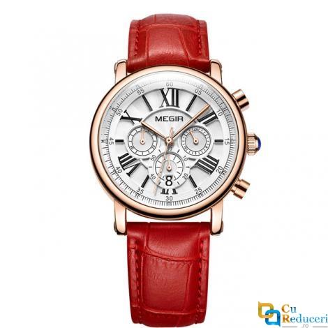 Ceas de dama Megir, rezistent la apa 3Bar, mecanism Quartz, curea din piele, afisaj analogic, calendar complet, stil Fashion + cutie cadou