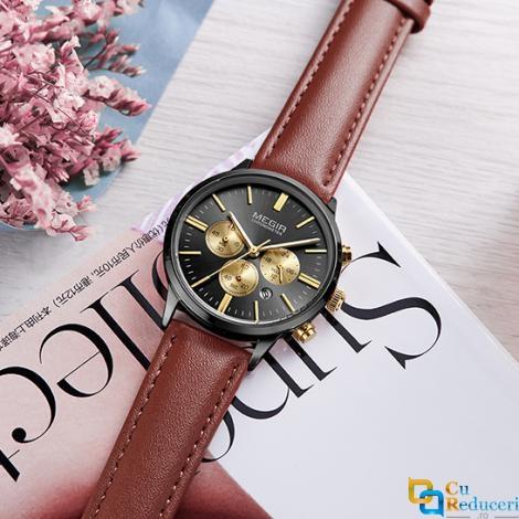 Ceas de dama Megir, rezistent la apa 3Bar, mecanism Quartz, curea din piele maro, afisaj analogic, calendar complet, cronometru, stil Fashion + cutie cadou