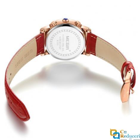 Set ceas Mini Focus barbatesc + ceas dama Megir, rezistent la apa 3Bar, mecanism Quartz, afisaj analogic, calendar complet + cutie cadou
