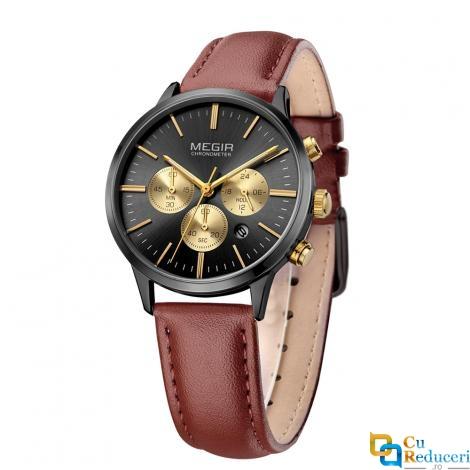 Set ceas barbatesc + ceas dama Megir, rezistent la apa 3Bar, mecanism Quartz, calendar complet, afisaj analogic, stil Fashion + cutie cadou