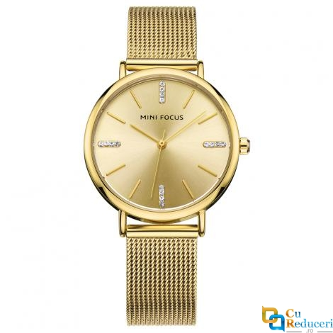 Set ceas barbatesc + ceas dama Mini Focus, rezistent la apa 3Bar, mecanism Quartz, curea din otel inoxidabil, afisaj analogic, stil Fashion + cutie cadou