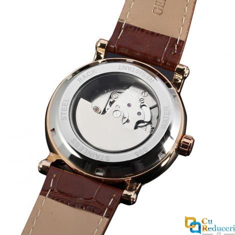 Ceas barbatesc Forsining cu Moon Phase (arata noapte/zi), curea din piele maro, calendar complet, mecanism automatic-mecanic, stil Fashion + cutie cadou