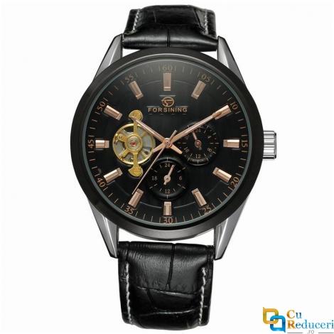 Ceas barbatesc Forsining, curea din piele neagra, mecanism automatic-mecanic, stil Business + cutie cadou
