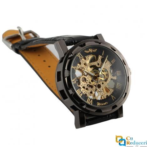 Ceas barbatesc Winner, schelet auriu, curea din piele neagra, mecanism automatic-mecanic, stil Fashion + cutie cadou