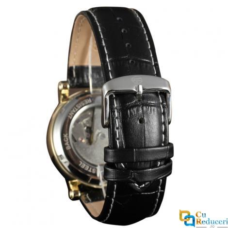 Ceas Forsining barbatesc cu Moon Phase (arata noapte/zi), curea din piele neagra, calendar complet, mecanism automatic-mecanic, stil Fashion + cutie cadou