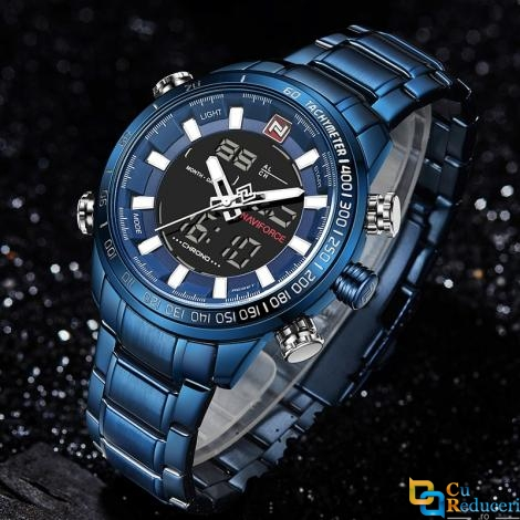 Ceas barbatesc Naviforce din otel inoxidabil albastru, mecanism Quartz, rezistent la apa 3Bar, afisaj analogic si digital, stil Sport + cutie cadou