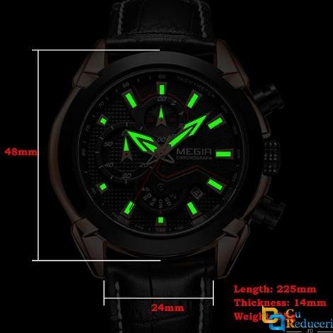 Ceas Megir, rezistent la apa 3Bar, mecanism Quartz, curea din piele neagra, afisaj analogic, calendar complet, stil Fashion + cutie cadou