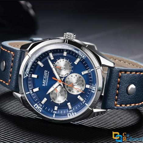 Ceas Megir model 2018, rezistent la apa 3Bar, mecanism Quartz, curea din piele albastra, afisaj analogic, calendar complet, stil Business + cutie cadou