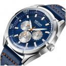 Ceas Megir, rezistent la apa 3Bar, mecanism Quartz, curea din piele albastra, afisaj analogic, calendar complet, stil Business + cutie cadou