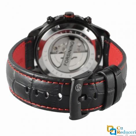 Ceas barbatesc Forsining, model sport, curea din piele neagra, mecanism automatic, calendar complet + cutie cadou