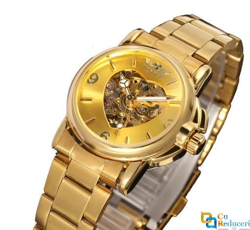 Set ceas barbatesc Forsining + ceas dama Winner, mecanism automatice, bratara din otel inoxidabil de culoare galbena, rezistent la zgarieturi + cutie cadou