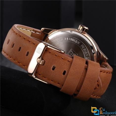 Ceas Naviforce barbatesc Gold, mecanism Quartz, curea din piele maro, rezistent la apa 3ATM(30m), calendar, stil Fashion + cutie cadou