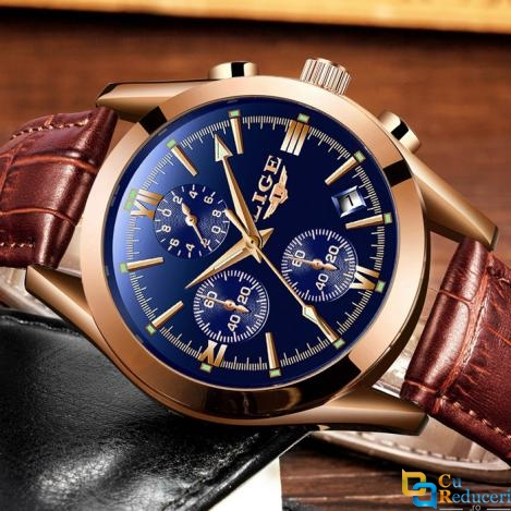 Ceas barbatesc Lige, mecanism Quartz, curea din piele maro, rezistent la apa 3ATM(30m), calendar, chronograph, stil Business