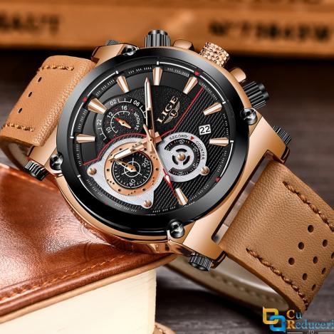 Ceas barbatesc Lige, mecanism Quartz, curea din piele maro, rezistent la apa 3ATM(30m), calendar, chronograph, stil Sport