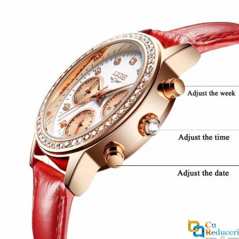 Ceas de dama Lige, mecanism Quartz, curea din piele de culoare rosie, rezistent la apa 3ATM(30m), calendar complet, stil Fashion