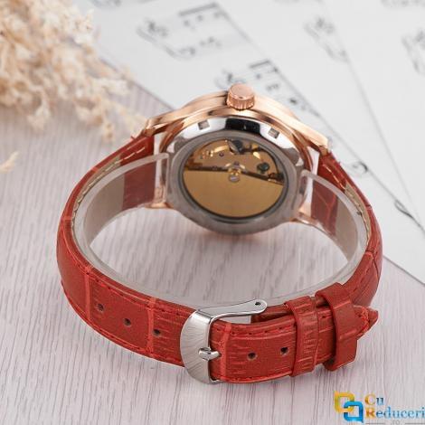 Ceas de dama OUYAWEI, mecanism automatic, curea din piele de culoare rosie, rezistent la apa 3ATM(30m), stil Fashion
