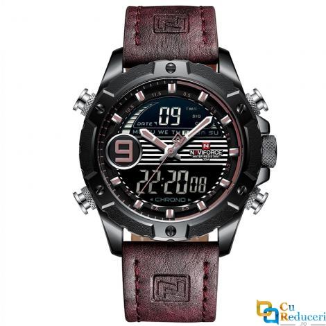 Ceas barbatesc Naviforce Sport, mecanism Quartz, curea din piele maro, rezistent la apa 3ATM(30m), calendar, alarma, afisaj digital si analogic