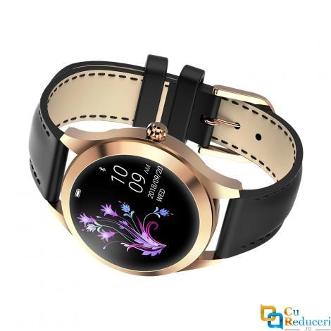 Ceas smartwatch Kingwear KW10, rezistent la apa IP68, 64KB Ram + 512KB ROM, display 1.04 inch TFT cu touch screen, rezolutie 240 * 198 pixeli, capacitate baterie 120mAh