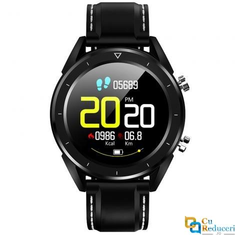 Ceas smartwatch NO.1 DT28, 64KB RAM + 512KB ROM, display 1.54 inch cu touch screen, rezolutie 240 x 240 pixeli, baterie 230mAh, altimetru/barometru/termometru, rezistent la apa IP68