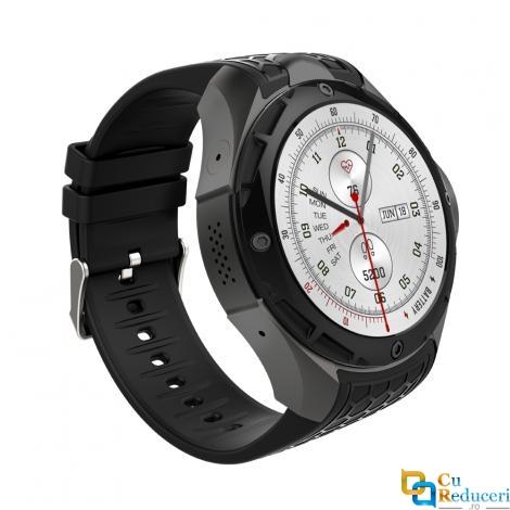 Ceas smartwatch Kingwear KW68, camera 2MP, display 1.39inch AMOLED cu touch screen, rezolutie 400 * 400 pixeli, GPS, procesor Quad Core 1.3GHz, 1G Ram + 16G ROM, 3G