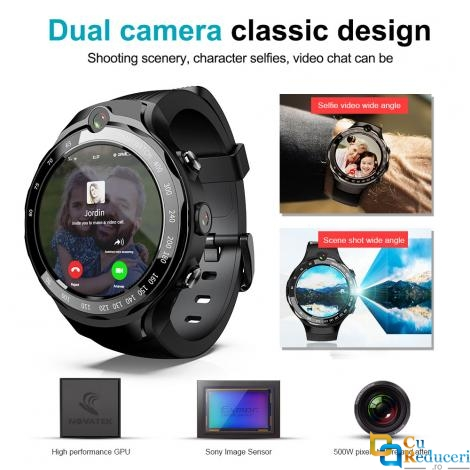 Smartwatch LOKMAT LOK02, 4G, 2 camere 5MP, rezolutie 400*400 pixeli, display 1.39inch AMOLED, pozitionare BeiDou + GPS, Android 7.1, procesor Quad Core 1.25GHz, 1G Ram + 16G ROM