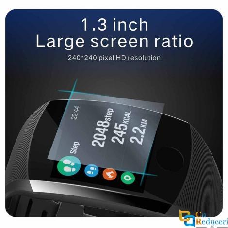 Smartwatch LOKMAT Q11, display 1.3 inch, rezolutie 240*240 pixeli, monitorizarea ritmului cardiac, tensiunii arteriale, calitatea somnului, pasilor, caloriilor, kilometrajului