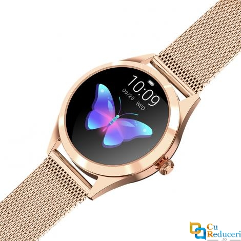 Ceas Smartwatch Kingwear KW10 Gold, rezistent la apa IP68, 64KB Ram + 512KB ROM, display 1.04 inch TFT cu touch screen, rezolutie 240 * 198 pixeli, capacitate baterie 120mAh