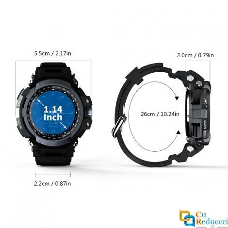 Ceas Smartwatch LOKMAT MK28, display 1.14 inch, rezistent la apa IP68(5 ATM), capacitate baterie 290mAh, pendometru, masoara pasii parcursi, distanta si arderea caloriilor