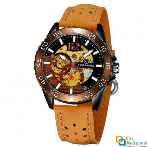 Ceas barbatesc Forsining, model sport, carcasa Skeleton maro, bratara din piele ecologica culoare maro, mecanism automatic, rezistent la apa 3ATM + cutie cadou