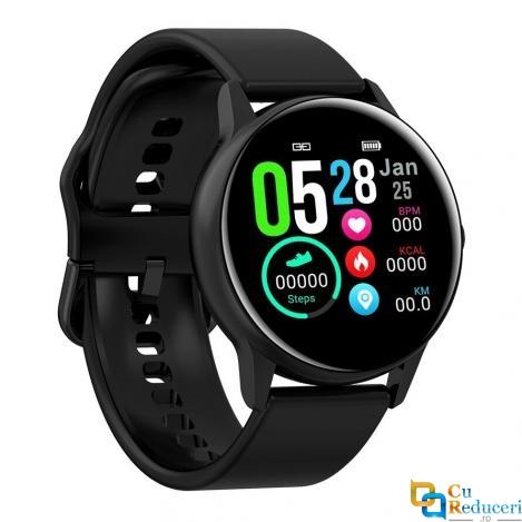 Ceas smartwatch DT NO.1 DT88, 64KB RAM + 512KB ROM, display 1.22 inch IPS cu touch screen, rezolutie 240 x 240 pixeli, baterie 150mAh, rezistent la apa IP68, altimetru/barometru/UV