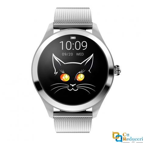 Ceas Smartwatch Kingwear KW10 argintiu, rezistent la apa IP68, 64KB Ram + 512KB ROM, display 1.04 inch TFT cu touch screen, rezolutie 240 * 198 pixeli, capacitate baterie 120mAh