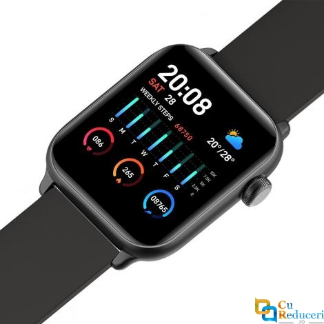 Ceas smartwatch Kingwear KW37, 64KB Ram + 512KB ROM, display 1.3inch TFT cu touch screen, rezolutie 240 x 240 pixeli, baterie 160mAh