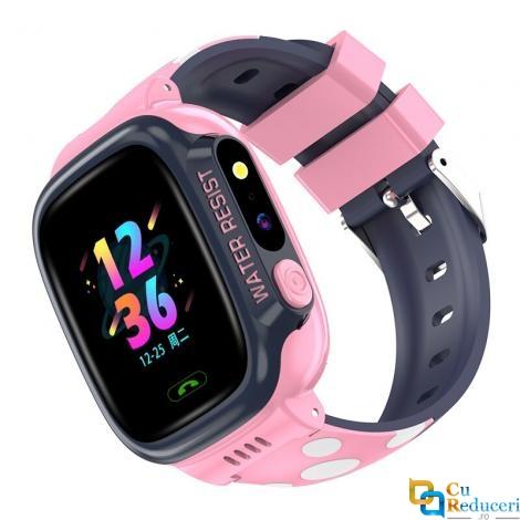 Ceas smartwatch Kingwear Y92 roz, display 1.44inch TFT cu touch screen, rezolutie 240 x 240 pixeli, baterie 680mAh, camera: 500,000 pixels