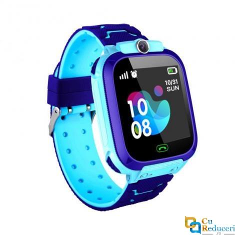 Ceas smartwatch Kingwear Q12 albastru, display 1.44inch TFT cu touch screen, rezolutie 128 x 128 pixeli, baterie 400mAh, memorie 32 M RAM + 32 M ROM, lanterna