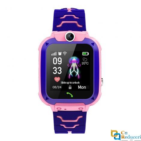Ceas smartwatch Kingwear Q12 roz, display 1.44inch TFT cu touch screen, rezolutie 128 x 128 pixeli, baterie 400mAh, memorie 32 M RAM + 32 M ROM, lanterna