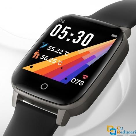 Ceas smartwatch Kingwear T1, display 1.3 inch IPS cu touch screen, rezolutie 240 x 240 pixeli, functii de monitorizare a sanatatii + temperatura corpului