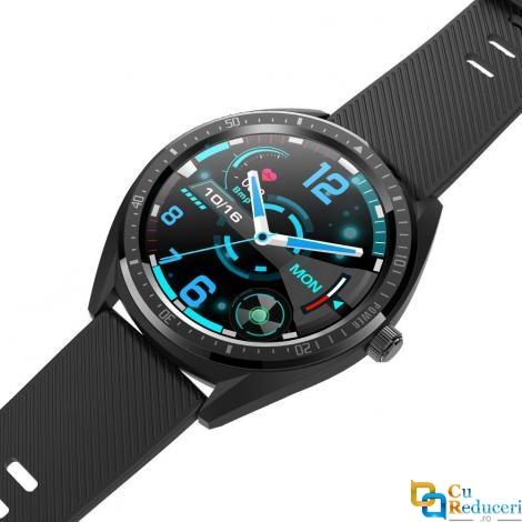 Ceas smartwatch Kingwear KW32, display 1.3 inch TFT cu touch screen, rezolutie 240 x 240 pixeli, capacitate baterie 460 mAh, functii pentru monitorizarea sanatatii