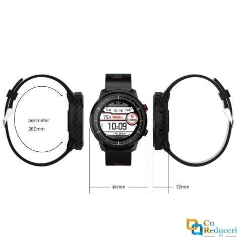 Ceas smartwatch Kingwear S10 Plus, display 1.3 inch cu touch screen, rezolutie 240 x 240 pixeli, baterie 350mAh, rezistent la apa IP67, functii de monitorizare a sanatatii