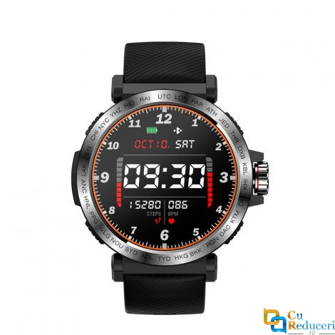 Ceas smartwatch Kingwear S18, display 1.28 inch cu touch screen, rezolutie 240 x 240 pixeli, baterie 280mAh, rezistent la apa IP68, functii de monitorizare a sanatatii