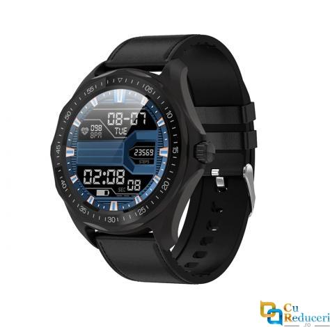 Ceas smartwatch Kingwear S09, display 1.3 inch HD IPS cu touch screen, rezolutie 240 x 240 pixeli, baterie 200mAh, rezistent la apa IP68, functii de monitorizare a sanatatii